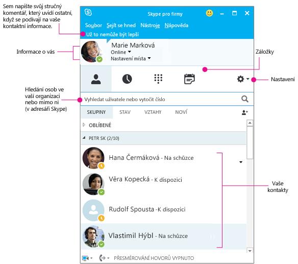 Znázorněné hlavní okno Skypu pro firmy