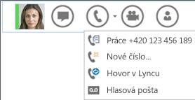 Snímek obrazovky možnosti volání