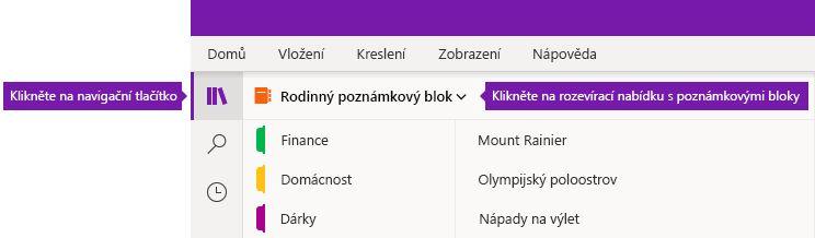 Rozbalení seznamu poznámkových bloků ve OneNotu pro Windows 10