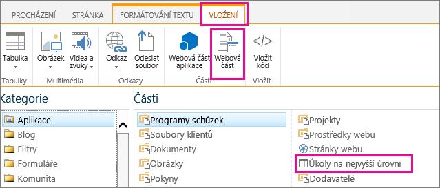 Snímek obrazovky postupu vložení webové části Úkoly na nejvyšší úrovni
