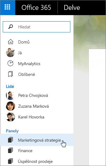 Snímek obrazovky se seznamem Panely v levém podokně Delvu