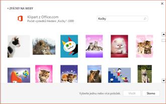 Ukázka obrázků koček na webu klipartů