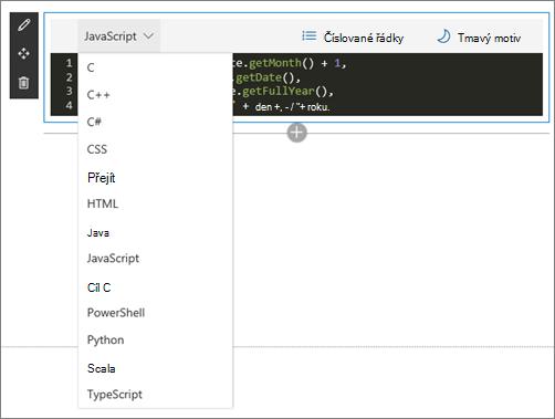 Webovou část fragment kódu v režimu úprav