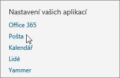 Snímek obrazovky s částí Nastavení vašich aplikací v nastaveních aplikace Outlook Web App s kurzorem ukazujícím na možnost Pošta