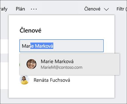 Snímek obrazovky se seznamem členů při zadávání názvu nového člena plánu