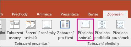 Zobrazuje tlačítko předlohy snímků na pásu karet v PowerPointu.