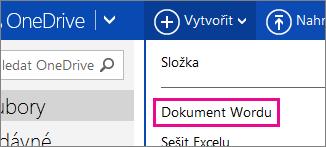 Vytvoření wordového dokumentu pomocí OneDrivu
