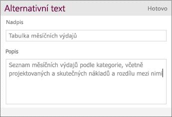 Přidejte k tabulce alternativní text.