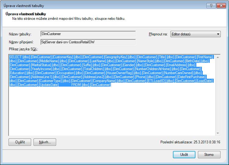 Dotaz SQL použitý k načtení dat