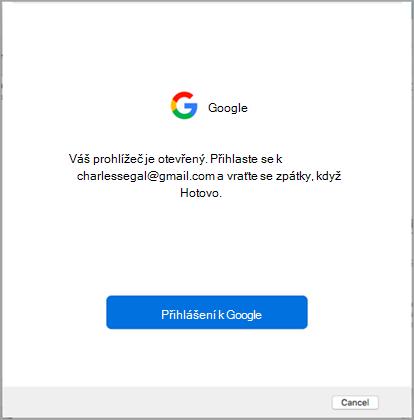 přihlásit se k Googlu
