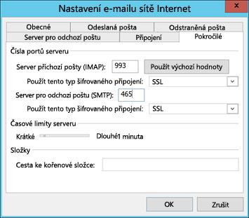 Zadání čísel portů serveru