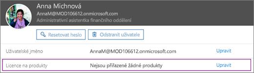 Snímek obrazovky s informacemi o uživatelce Allie Bellew. V části Licence na produkty nemá uživatelka přiřazeny žádné produkty, úpravy jsou dostupné