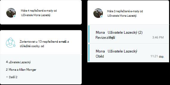 Snímek obrazovky s aktivity MyAnalytics e-mailu