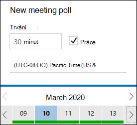 Doba trvání schůzky v čase FindTime