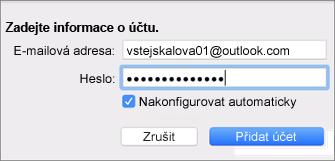 Přidání e-mailového účtu