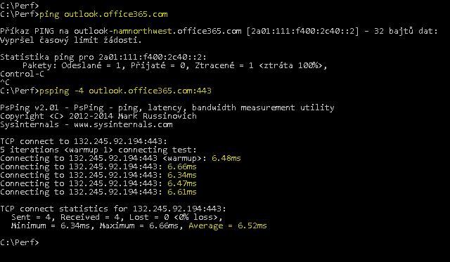 Snímek obrazovky zobrazující ping na outlook.office365.com a PSPing s portem 443, který dělá totéž, ale k tomu udává průměrnou RTT 6,5 ms.