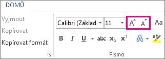 Tlačítka Zvětšit písmo a Zmenšit písmo na kartě Domů