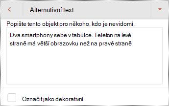 Dialog alternativní text pro obrázek v PowerPointu pro Android