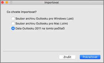 Obrazovka Importovat svybranou možností Data Outlooku 2011 na tomto počítači