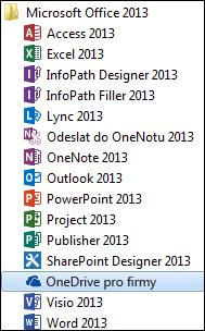 OneDrive 2013 pro firmy v programové skupině Office 2013 ve Windows 7