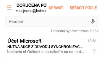 Otevřete e-mail se zprávou Nutná akce