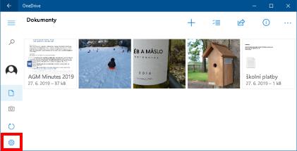 Uživatelské rozhraní aplikace úložiště OneDrive