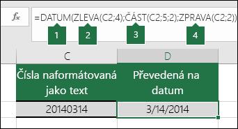Převedení textových řetězců ačísel na kalendářní data