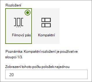 Výběr rozložení v podokně vlastností webové části události