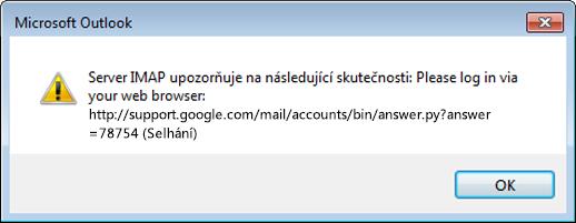 Pokud se vám zobrazí chyba Server IMAP upozorňuje na následující skutečnosti, zkontrolujte, že jste nastavili méně bezpečná nastavení Gmailu na Zapnutá, aby Outlook měl přístup k vašim zprávám.