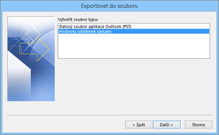 Průvodce exportem v Outlooku – volba souboru CSV