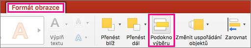 Zobrazuje kartu Formát obrazce v PowerPointu 2016 pro Mac.