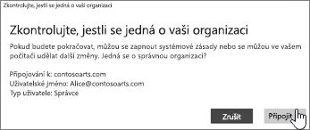 Na obrazovce Zkontrolujte, jestli se jedná o vaši organizaci klikněte na Připojit.