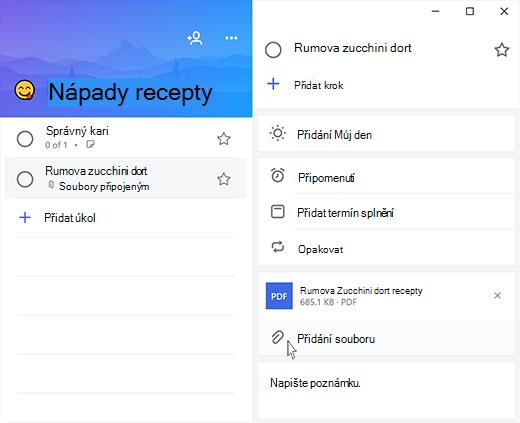 Snímek obrazovky Microsoft úkolu s otevřete podrobné zobrazení a přidání souboru zvýrazněná možnost