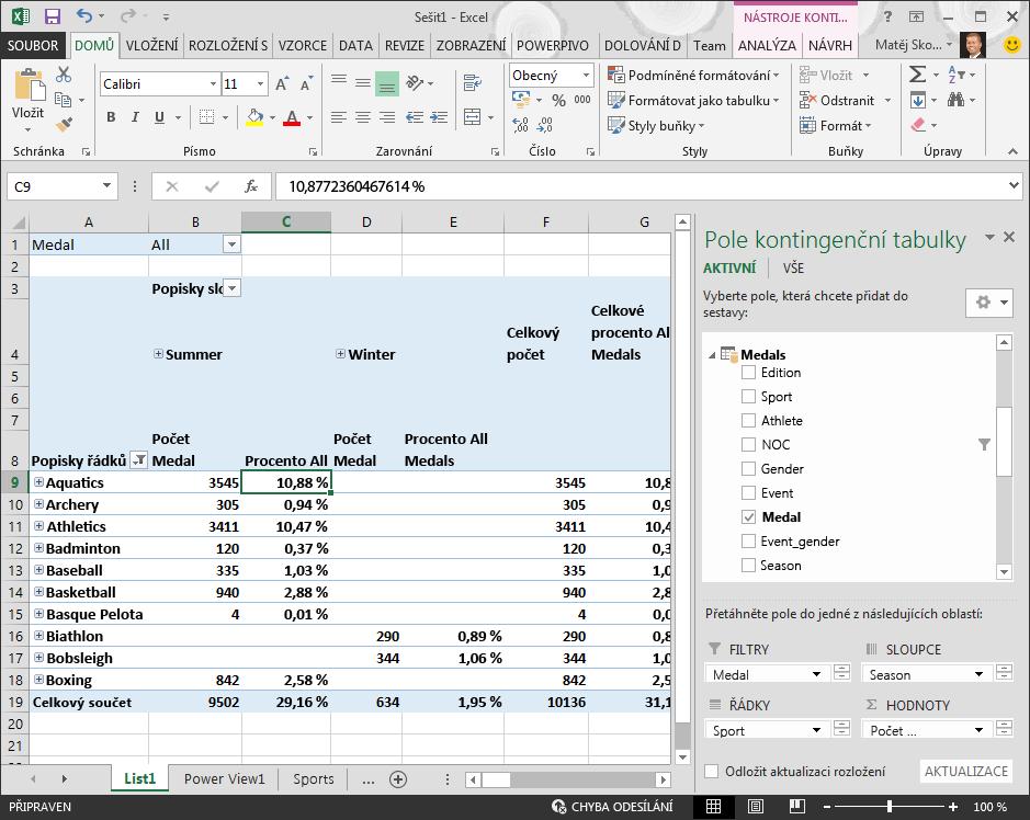 Kontingenční tabulka ukazující data v procentech