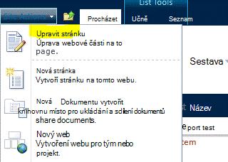 Příkaz Upravit stránku v nabídce Akce webu