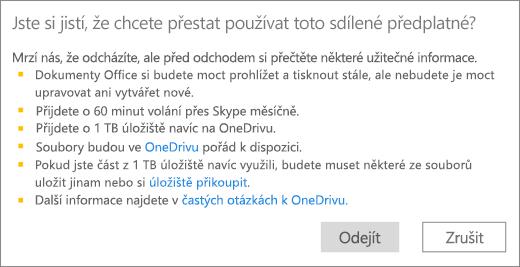Snímek obrazovky s potvrzovacím dialogovým oknem po ukončení používání předplatného Office 365 pro domácnosti, které s vámi někdo sdílel