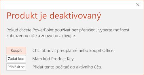 Zobrazuje zprávu, která označuje, že se deaktivovala instalace Office.