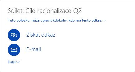 Snímek obrazovky s postupem sdílení souboru na OneDrivu