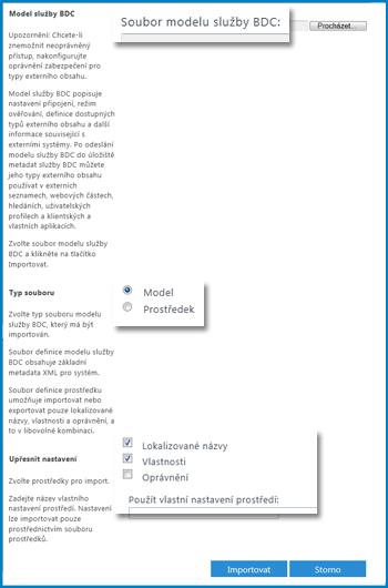 Snímek obrazovky se zobrazením Model služby BDC