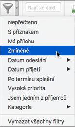E-maily, ve kterých vás někdo @zmínil, můžete vyhledat pomocí možnosti Zmínka v nabídce Filtrování e-mailů.