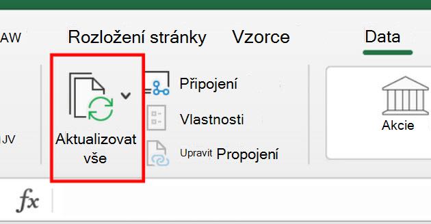 Resfresh všech příkazů na pásu karet v Excelu pro Mac