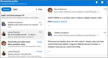 Seznam zpráv nalevo a vybraná konverzace napravo