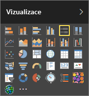 Zvolte Stacked bar chart (Skládaný pruhový graf) ve Visualizations v Power BI.