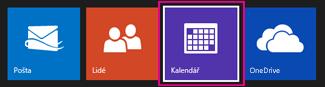 Výběr zobrazení Kalendář v hlavní nabídce Outlooku.com