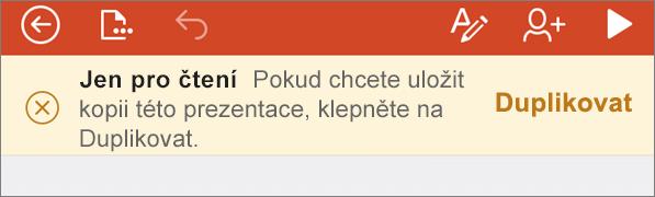 Zobrazí oznámení jen pro čtení po otevření souboru ODF v PowerPointu pro iPhone.