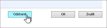 Odstranit sloupce tlačítko v dolní části na stránce nastavení sloupce