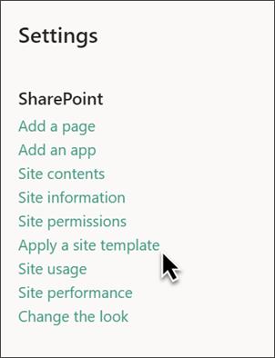 Obrázek panelu nastavení SharePoint se zvýrazněnou šablonou webu
