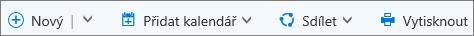 Panel příkazů Kalendář pro Outlook.com