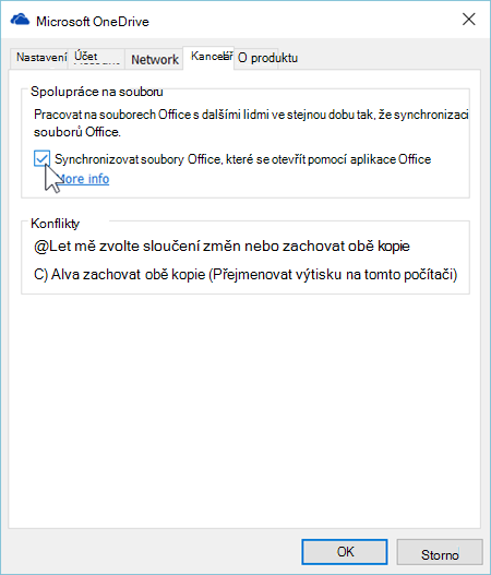 Snímek obrazovky s kartou Office v nastavení synchronizačního klienta OneDrivu
