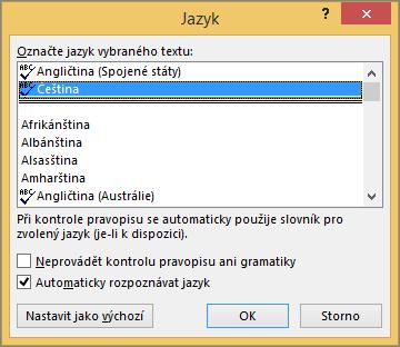 Dialogové okno Jazyk